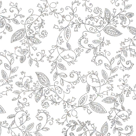 Abstract hand drawn silver pattern on white background. Design element for background, textile, paper packaging, wrapping paper, fabric and other. Platinum whorl ornament. Vector illustration