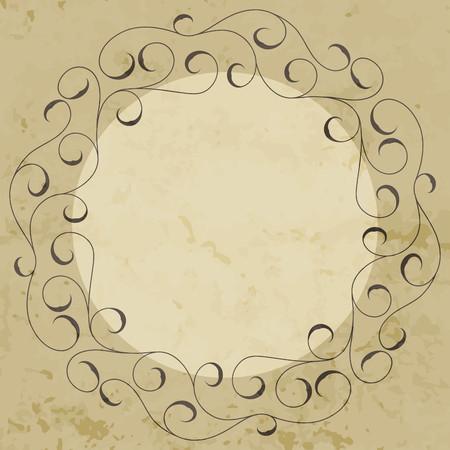 Elegant hand drawn retro floral frame. Design template for banner, card, invitation, label, emblem etc. Lineart vintage round border. Vector illustration. Ilustração Vetorial