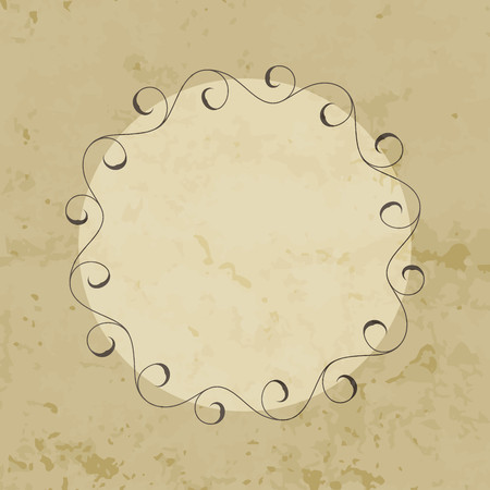 Elegant hand drawn retro floral frame. Design template for banner, card, invitation, label, emblem etc. Lineart vintage round border. Vector illustration.