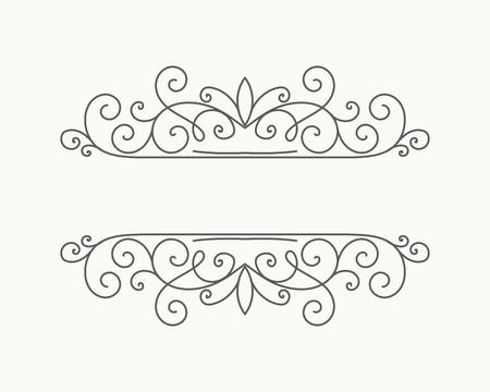 Borde decorativo dibujado a mano en estilo retro con trazo editable. Viñeta caligráfica vintage o divisor para tarjeta de felicitación, pancarta, fiesta, invitación de boda, menú, postal. Ilustración vectorial.