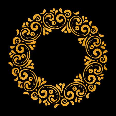 Elegant hand drawn retro floral frame on black background. Gold textured design template for banner, card, invitation, label, emblem etc. Lineart vintage border. Vector illustration.