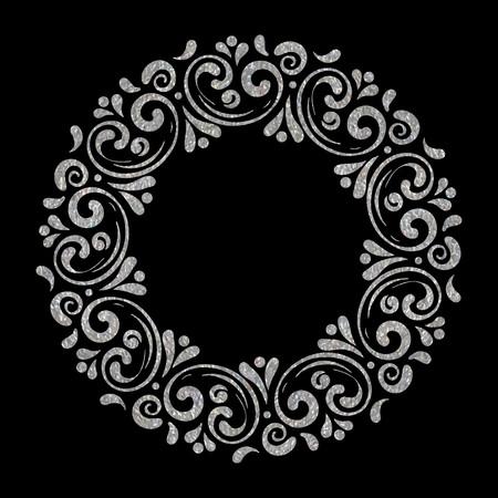 Elegant hand drawn retro floral frame on black background. Silver textured design template for banner, card, invitation, label, emblem etc. Lineart vintage border. Vector illustration. Illustration