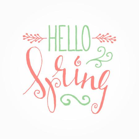Letras caligráficas manuscritas Hola primavera sobre fondo blanco. Elemento de diseño gráfico decorativo de inspiración para banner, tarjeta de felicitación, postal, invitación, cartel. Ilustración vectorial.