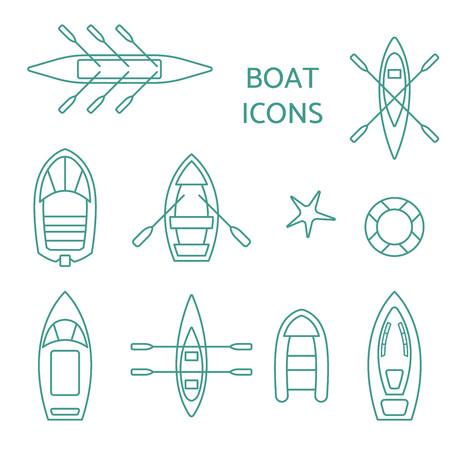 Ensemble de contour d'icônes de bateau. Vecteurs