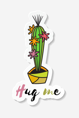 Sticker with cactus in pot with the inscription Hug me. Colored funny cute cactus with black contour. Design for tag, label, sticker, postcard, greeting card. Vector illustration.