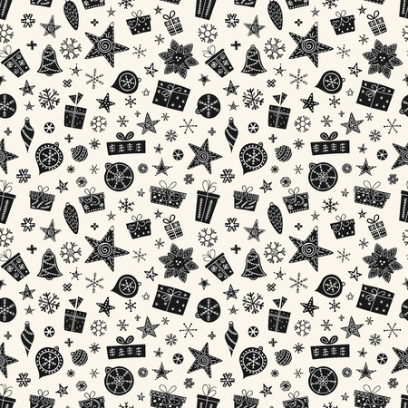 Seamless Christmas pattern in trendy Scandinavian style. Design element for modern and original festive textile, gift wrap, wall art, background, paper packaging, wrapping paper. Vector illustration.