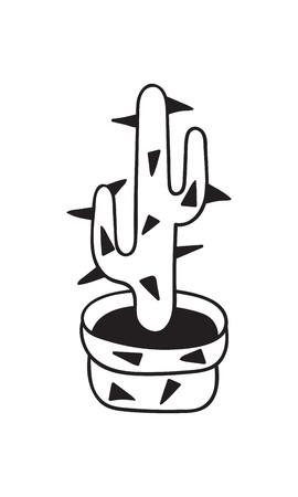 Kaktus mit Stacheln im Topf für Malbücher. Lustiger süßer Kaktus mit schwarzer Kontur. Mexikanische Pflanze. Gestaltungselement für Banner, Postkarte, Grußkarte, T-Shirt. Vektor-Illustration.
