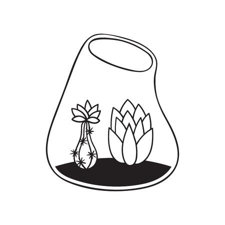 Kakteen mit Blumen im Terrarium für Malbücher. Lustiger süßer Kaktus mit schwarzer Kontur. Mexikanische Pflanze. Gestaltungselement für Banner, Postkarte, Grußkarte, T-Shirt. Vektor-Illustration. Vektorgrafik