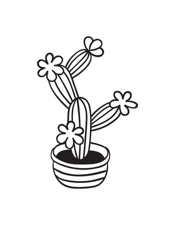 Kaktus mit Blumen im Topf für Malbücher. Lustiger süßer Kaktus mit schwarzer Kontur. Mexikanische Pflanze. Gestaltungselement für Banner, Postkarte, Grußkarte, T-Shirt. Vektor-Illustration. Vektorgrafik