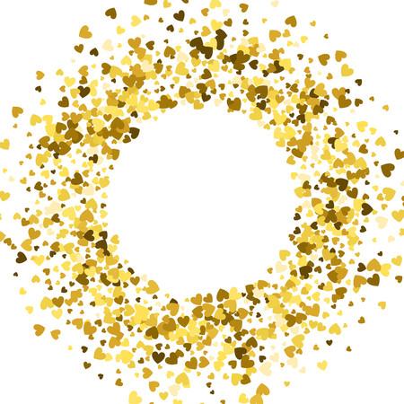 Okrągła złota ramka lub obramowanie losowych serc rozproszonych. Element projektu na świąteczny baner, kartkę z życzeniami, pocztówkę, zaproszenie na ślub, walentynki i zapisz kartę daty. Ilustracja wektorowa.