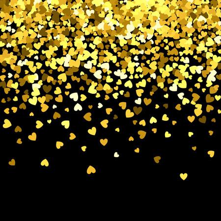 Modello oro di coriandoli a forma di cuori che cadono casuali. Elemento di design del bordo per striscioni festivi, biglietti di auguri, cartoline, inviti di nozze, San Valentino e salva la data. Illustrazione vettoriale. Vettoriali