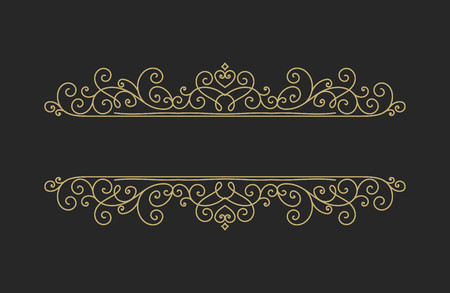 Hand drawn decorative border in retro style with editable stroke. Vintage calligraphic vignette or divider for greeting card, banner, party, wedding invitation, menu, postcard. Vector illustration.