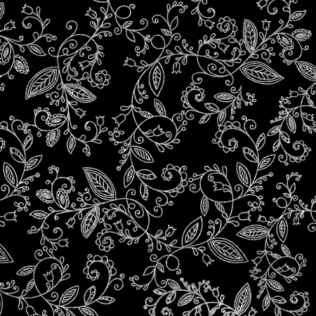 Abstract hand drawn silver pattern on black background. Design element for background, textile, paper packaging, wrapping paper, fabric and other. Platinum whorl ornament. Vector illustration