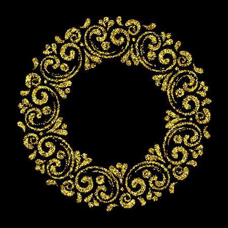 Elegant hand drawn retro floral frame on black background. Gold dust textured design template for banner, card, invitation, label, emblem etc. Lineart vintage border. Vector illustration. Ilustração