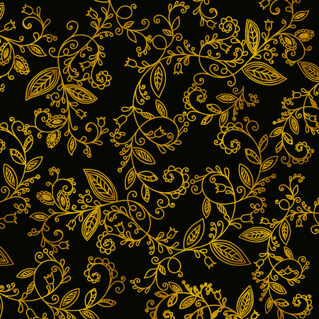 Abstract hand drawn gold pattern on black background. Design element for background, textile, paper packaging, wrapping paper, fabric and other. Golden whorl ornament. Vector illustration. Vektoros illusztráció