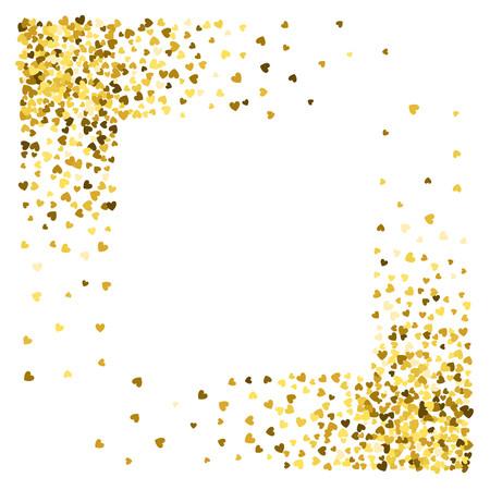 Square corner gold frame or border of random scatter hearts. Design element for festive banner, greeting card, postcard, wedding invitation, Valentines day and save the date card. Vector illustration.