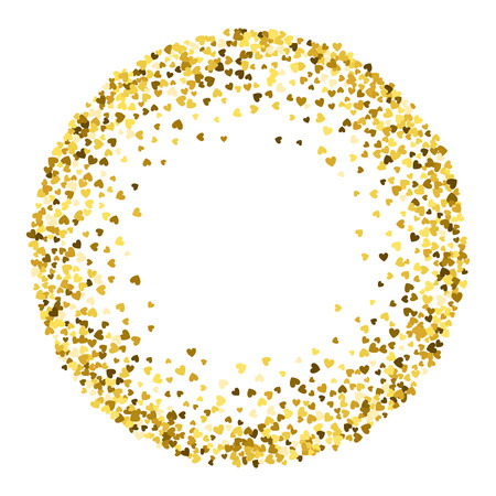 Round gold frame or border of random scatter hearts. Design element for festive banner, greeting card, postcard, wedding invitation, Valentines day and save the date card. Vector illustration.