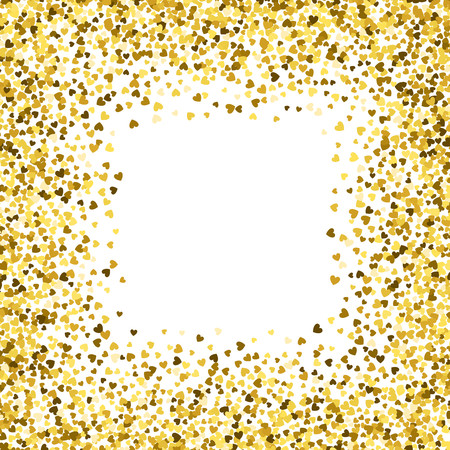 Square gold frame or border of random scatter hearts. Design element for festive banner, greeting card, postcard, wedding invitation, Valentines day and save the date card. Vector illustration.