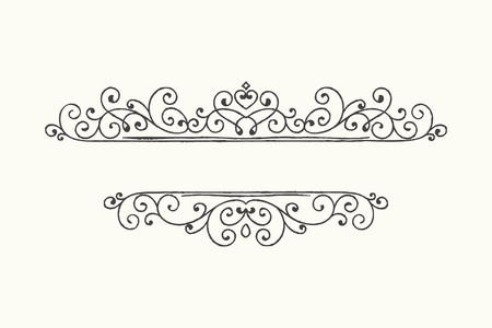 Hand drawn decorative border in grunge retro style. Elegant vintage calligraphic vignette or divider for greeting card, banner, retro party, wedding invitation, menu, postcard. Vector illustration.