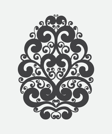 Handdrawn graceful vintage Easter egg on white background. Holiday calligraphy curl ornate design element for greeting cards, banners, posters, invitations, postcards. Vector illustration.