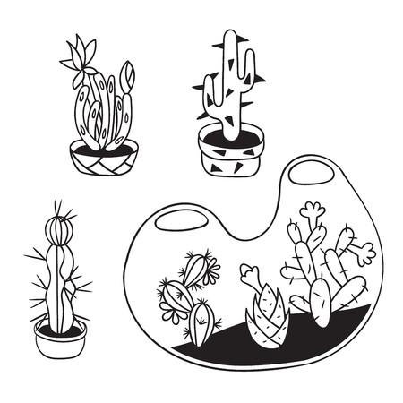 Kakteen mit Blumen in Terrarien und Töpfen für Malbücher. Lustiger süßer Kaktus mit schwarzer Kontur. Mexikanische Pflanze. Gestaltungselement für Postkarte, Grußkarte, T-Shirt. Vektor-Illustration.