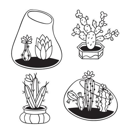 Kakteen mit Blumen in Terrarien und Töpfen für Malbücher. Lustiger süßer Kaktus mit schwarzer Kontur. Mexikanische Pflanze. Gestaltungselement für Postkarte, Grußkarte, T-Shirt. Vektor-Illustration. Vektorgrafik