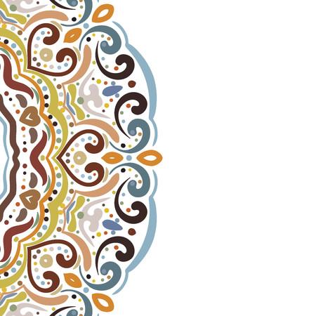 Elegant hand drawn colorful floral greeting card on white background. Design element for banner, border, postcard, save the date, greeting card, invitation. Vector illustration. Ilustração Vetorial