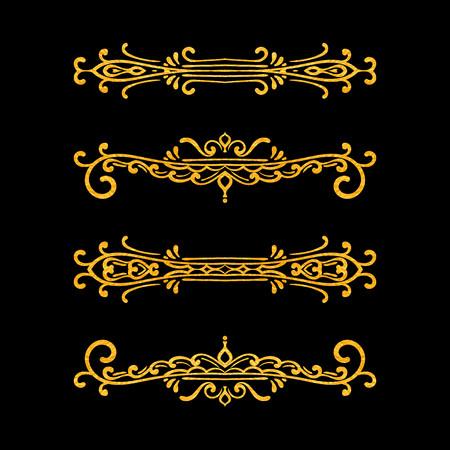 Conjunto de separadores vintage sobre fondo negro. Frontera retro dibujada a mano de textura dorada. Elemento de diseño para invitación de boda o menú, banner, postal, guardar la tarjeta de fecha. Ilustración vectorial.