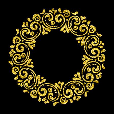 Elegant hand drawn retro floral frame on black background. Gold dust textured design template for banner, card, invitation, label, emblem etc. Lineart vintage border. Vector illustration. Illustration