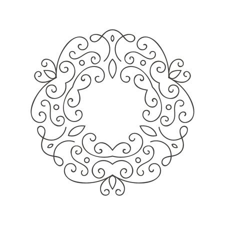 Elegant hand drawn retro floral frame. Design template for banner, card, invitation, label, emblem etc. Lineart vintage border. Vector illustration. Illustration