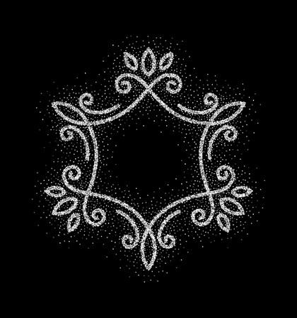 Elegant hand drawn retro floral frame on black background. Silver dust textured design template for banner, card, invitation, label, emblem etc. Lineart vintage border. Vector illustration. Ilustração Vetorial