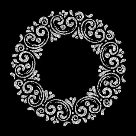 Elegant hand drawn retro floral frame on black background. Silver dust textured design template for banner, card, invitation, label, emblem etc. Lineart vintage border. Vector illustration.