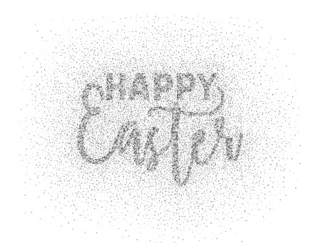 Glitter silver textured calligraphic inscription Happy Easter of sprinkled confetti. Lettering design element for banner, greeting card, invitation, postcard, flyers. Vector illustration.