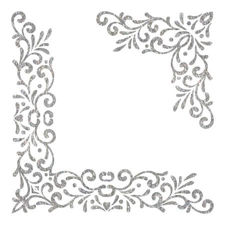 Esquinas vintage con textura plateada sobre fondo blanco. Elegante borde floral retro dibujado a mano. Elemento de diseño para invitación de boda o menú, banner, postal, guardar la tarjeta de fecha. Ilustración vectorial.