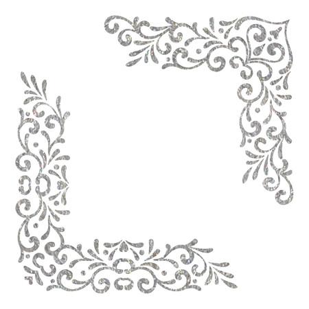 Silver textured vintage corners on white background. Elegant hand drawn retro floral border. Design element for wedding invitation or menu, banner, postcard, save the date card. Vector illustration.