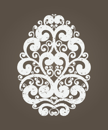 Handdrawn graceful vintage grunge Easter egg on brown background. Holiday calligraphy curl ornate design element for greeting cards, banners, posters, invitations, postcards. Vector illustration.