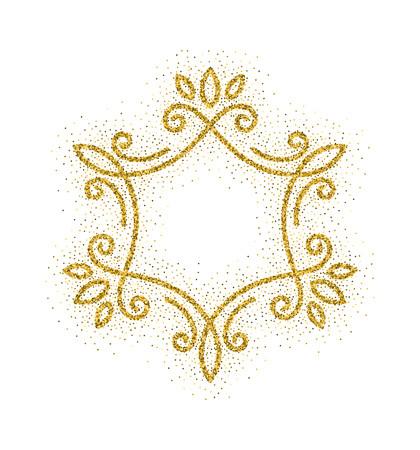 Elegant hand drawn retro floral frame on white background. Gold dust textured design template for banner, card, invitation, label, emblem etc. Lineart vintage border. Vector illustration. Ilustração Vetorial