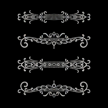 Set of vintage dividers on black background. Silver texture hand drawn retro border. Design element for wedding invitation or menu, banner, postcard, save the date card. Vector illustration.