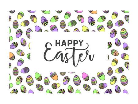 Easter doodle vector frame Vetores