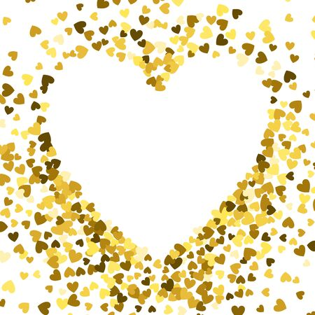 Gold frame of scatter confetti in the shape of heart. Border design element for festive banner, greeting card, postcard, wedding invitation, Valentines day and save the date card. Vector illustration.