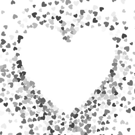 Frame or border of random scatter hearts