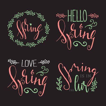 Handwritten calligraphic Spring lettering set