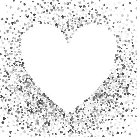 Frame or border of random scatter hearts