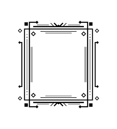 Ornamental decorative frame. Art deco line border. Vector illustration.