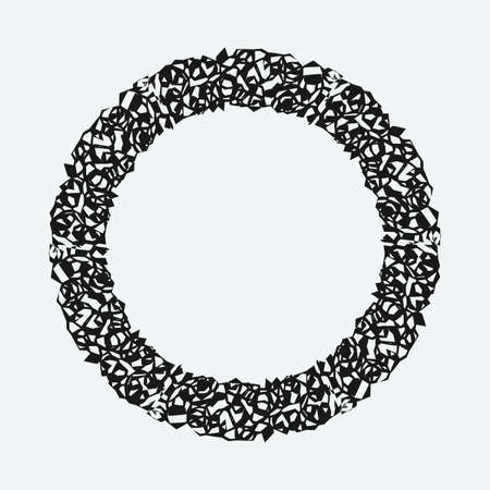 A grunge rough round frame. Vector illustration
