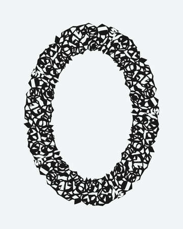 A grunge rough oval frame. Vector illustration
