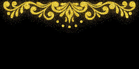 Elegant retro border with flourishes with glitter particles effect. Gold dust sparkling texture. Vintage border. Design template for banner, card, invitation, label, emblem etc. Vector illustration. 矢量图像