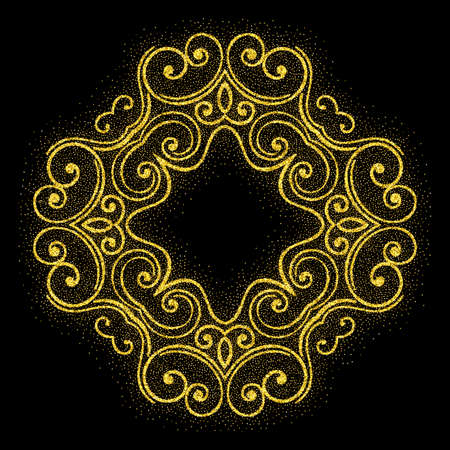 Elegant retro frame with flourishes with glitter particles effect. Gold dust sparkling texture. Vintage border. Design template for banner, card, invitation, label, emblem etc. Vector illustration. 矢量图像