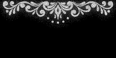 Retro shiny border. Silver dust texture. Vector.