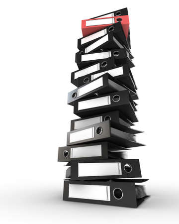 Pile of black folders with one red folder Stock Photo - 9699228